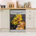 Golden Retriever Sunflower Pattern Dishwasher Cover Sticker Kitchen Decor