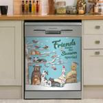 Friends Make The Season Special Cute Pets Dishwasher Cover Sticker Kitchen Decor