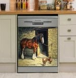 Horse And Chickens Farm Dishwasher Cover Sticker Kitchen Decoration