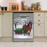 Horse Drawn Sled Dishwasher Cover Sticker Kitchen Decor