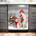 Great Pyrenees Red House Christmas Dishwasher Cover Sticker Kitchen Decor