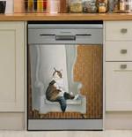 Funny Royal Cat Dishwasher Cover Sticker Kitchen Decor