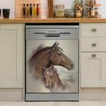 Horse Mom And Kid Animal Dishwasher Cover Sticker Kitchen Decor