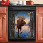 Hunting Moose In The Lake Dishwasher Cover Sticker Kitchen Decor