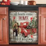 Horse All Hearts Come Home For Christmas Dishwasher Cover Sticker Kitchen Decor