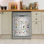 Flower Garden With Butterfly And Dragonfly Dishwasher Cover Sticker Kitchen Decor