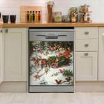 Gnomes Working With Santa Dishwasher Cover Sticker Kitchen Decor