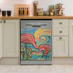 Flamingo Abstract Art Dishwasher Cover Sticker Kitchen Decor