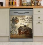 Horse So Very Thankful Forever Grateful Unbelievably Blessed Dishwasher Cover Sticker Kitchen Decor