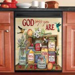 Fruits God Says You Are Unique Strong Special Dishwasher Cover Sticker Kitchen Decor