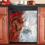 Horse Fire And Ice Dishwasher Cover Sticker Kitchen Decor