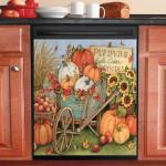 Harvest Pumpkin Wheel Barrow Dishwasher Cover Sticker Kitchen Decor