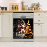 Guitar Snow Lightful Tree Pattern Dishwasher Cover Sticker Kitchen Decor