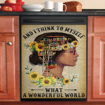 I Think To My Self Hippie Girl Dishwasher Cover Sticker Kitchen Decor