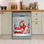 Golden Retriever Snowchristmas Pattern Dishwasher Cover Sticker Kitchen Decor