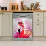 Flamingo Pink Flower Dishwasher Cover Sticker Kitchen Decor