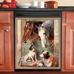 Horse And Dog Farm Life Dishwasher Cover Sticker Kitchen Decoration