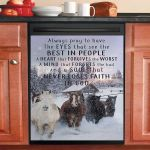 Horse Winter Never Loses Faith In God Dishwasher Cover Sticker Kitchen Decor
