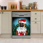 German Shepherd Christmas Gift Pattern Dishwasher Cover Sticker Kitchen Decor