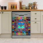 Hippie Vans Colorful Pattern Dishwasher Cover Sticker Kitchen Decor