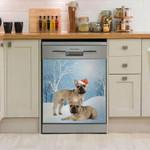 French Bulldog Snow Christmas Pattern Dishwasher Cover Sticker Kitchen Decor