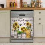 Hummingbird Sunflower How To Find Happiness Dishwasher Cover Sticker Kitchen Decor