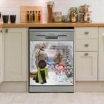Labradoodle Scarf Snowman Cute Pattern Dishwasher Cover Sticker Kitchen Decor
