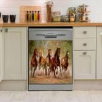 Horse Painting Dishwasher Cover Sticker Kitchen Decor