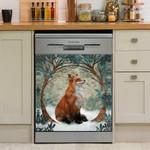 Fox Under Circle Tree Dishwasher Cover Sticker Kitchen Decor