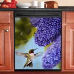 Hummingbird And Violet Lilac Flower Dishwasher Cover Sticker Kitchen Decor