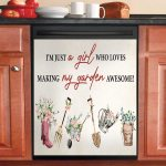 Gardening I Am Just A Girl Who Loves Making Dishwasher Cover Sticker Kitchen Decor