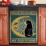 Hello Darkness My Old Friend Black Cat Dishwasher Cover Sticker Kitchen Decor