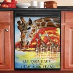 Giraffe Water Color Dishwasher Cover Sticker Kitchen Decor