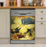 Golden Butterfly And Sunflower Gift Dishwasher Cover Sticker Kitchen Decor