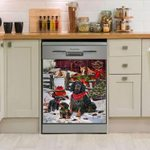 Gordon Setter Christmas Snow Pattern Dishwasher Cover Sticker Kitchen Decor