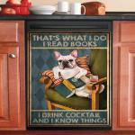 French Bulldog I Read Book I Drink Cocktail Dishwasher Cover Sticker Kitchen Decor