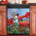 Hummingbird And Flower Garden Dishwasher Cover Sticker Kitchen Decor