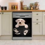 Labrador In Pocket Dishwasher Cover Sticker Kitchen Decor