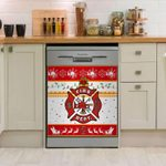 Fire Fighter Christmas Red Pattern Dishwasher Cover Sticker Kitchen Decor