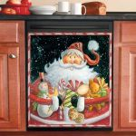 Father Christmas And Presents Dishwasher Cover Sticker Kitchen Decor
