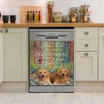 Golden Retriever What A Wonderful World Dishwasher Cover Sticker Kitchen Decor