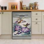 Humming Bird Purple Pattern Dishwasher Cover Sticker Kitchen Decor