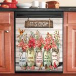 Flowers Cardinal It Is Okay To Be Yourself Dishwasher Cover Sticker Kitchen Decor