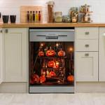 Halloween Pumpkin Arranged Into Floor Dishwasher Cover Sticker Kitchen Decor