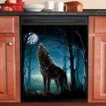 Howling Wolf Dishwasher Cover Sticker Kitchen Decor
