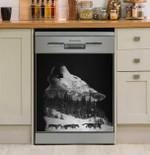 Howling Wofl Dark Pine Forest Wolfpack Dishwasher Cover Sticker Kitchen Decor