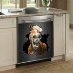 Funny Horse Broken Dark Wall Dishwasher Cover Sticker Kitchen Decor