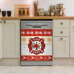 Firefighter Christmas Pattern Pattern Dishwasher Cover Sticker Kitchen Decor