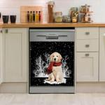 Golden Retriever Snowforest Pattern Dishwasher Cover Sticker Kitchen Decor