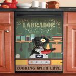 Labrador Retriever Kitchen Cooking With Love Dishwasher Cover Sticker Kitchen Decor